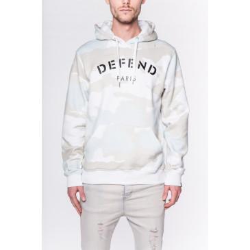 Sweatshirt DEFEND HOOD WHITE